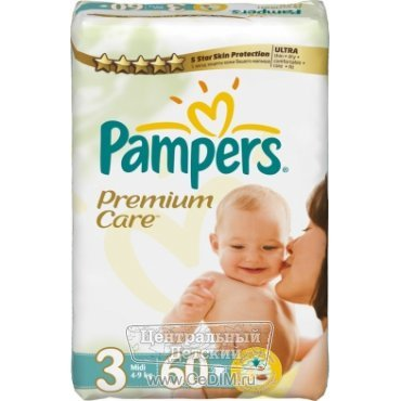 Подгузники Pampers Premium Care ULTRA 3 Midi 4-9кг 60 штук  Pampers